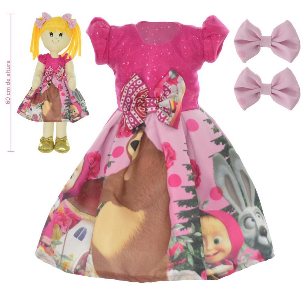 Roupa para Boneca de Pano Masha e o Urso Pink - Vestido
