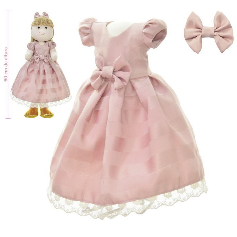 Roupa para Boneca de Pano na cor rosa seco - Vestido