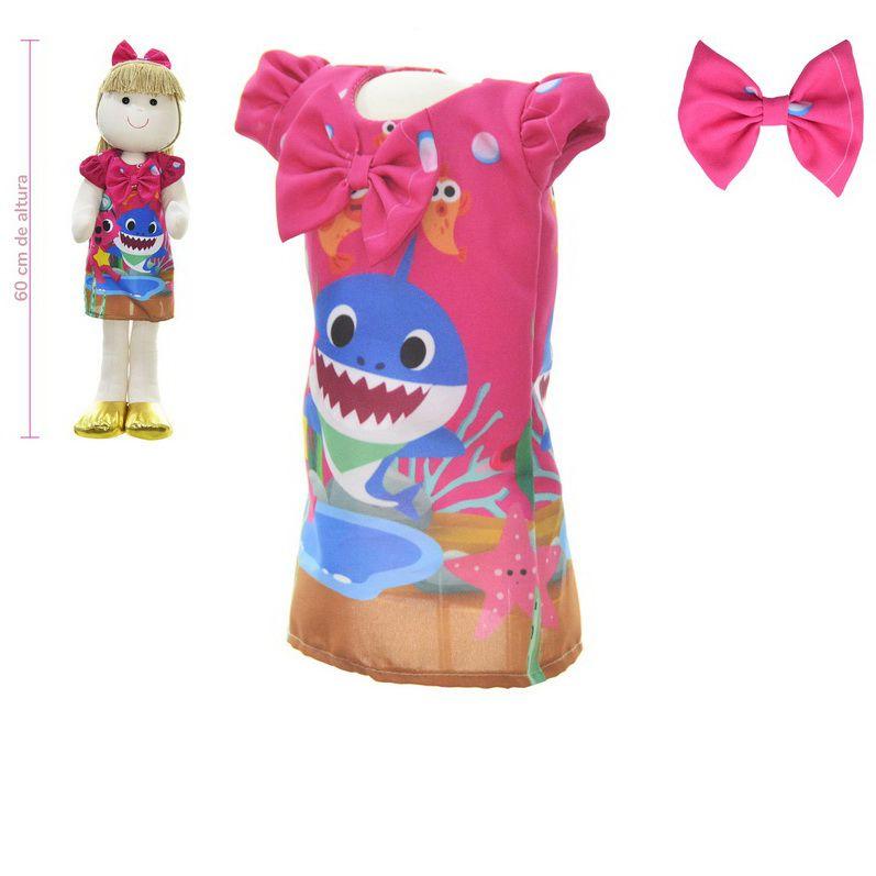 Roupa para Boneca de Pano tema Baby Shark - O Tubarão - Vestido