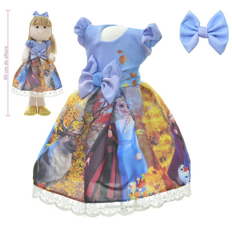 Roupa para Boneca de Pano tema Frozen 2 com Elsa e Anna - Vestido
