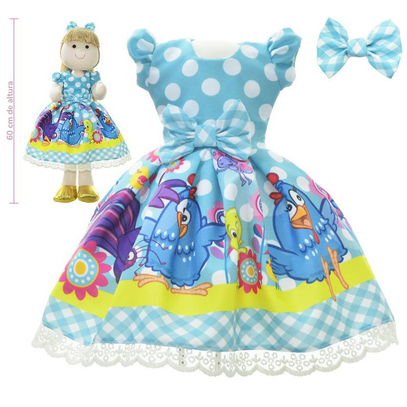 Roupa para Boneca de Pano tema galinha pintadinha - Vestido