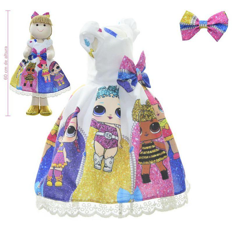 Roupa para Boneca de Pano tema Lol Surprise Under Wraps - Vestido