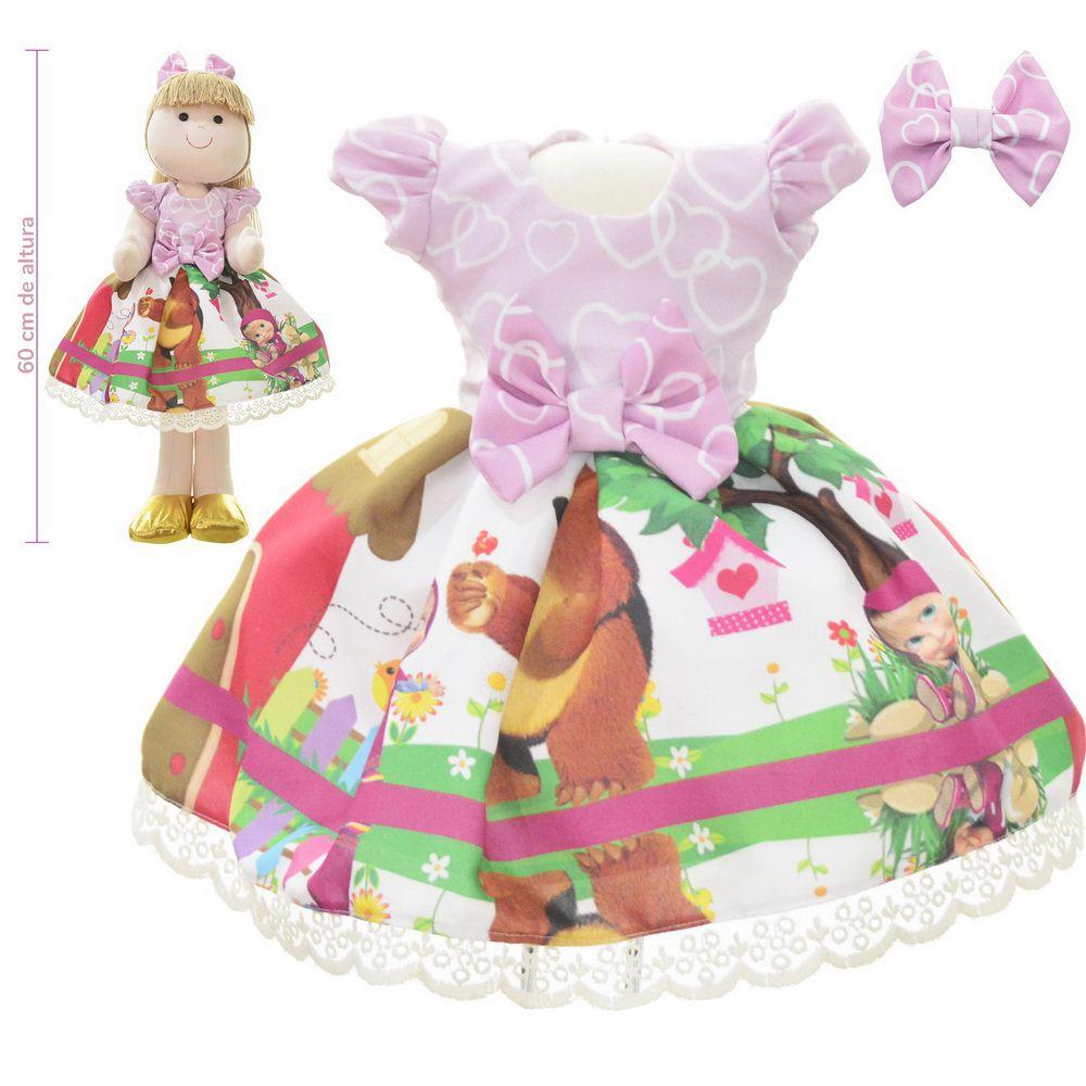 Roupa para Boneca de Pano tema Masha e o Urso - Vestido