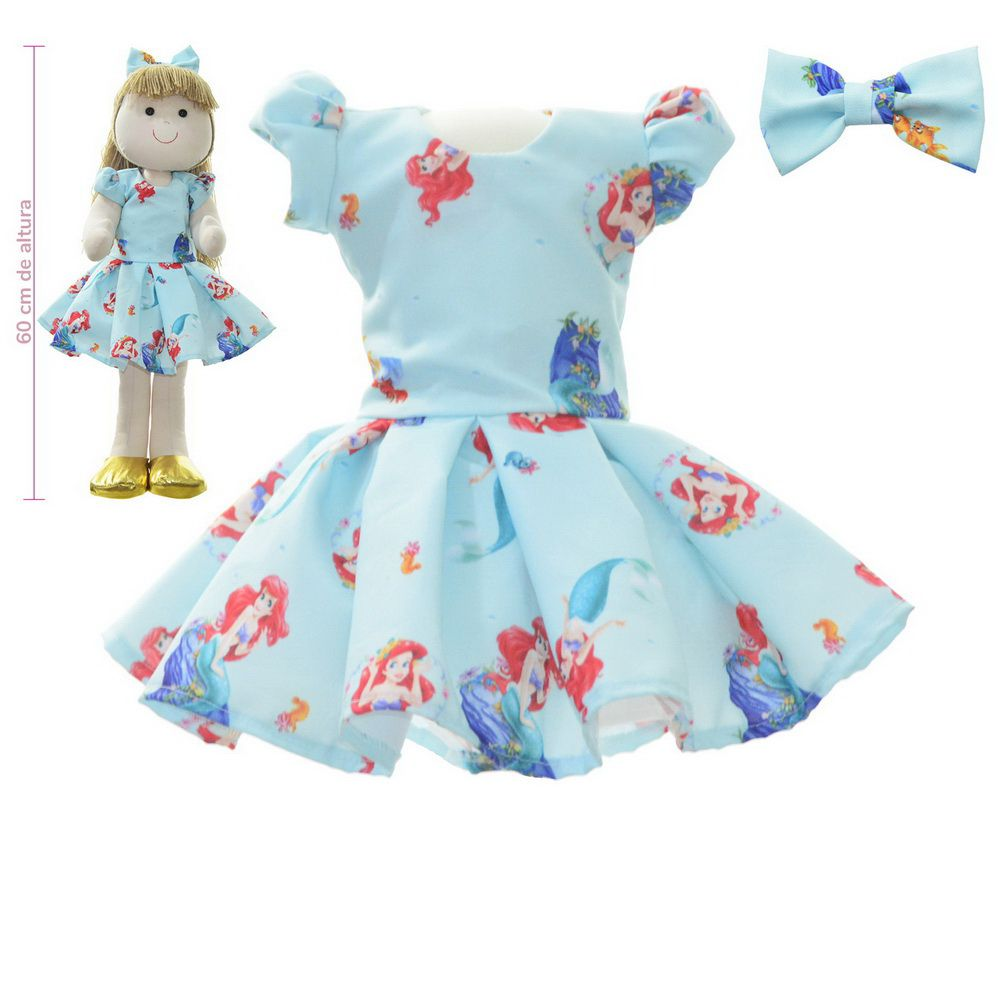 Roupa para Boneca de Pano tema pequena sereia Ariel - Vestido