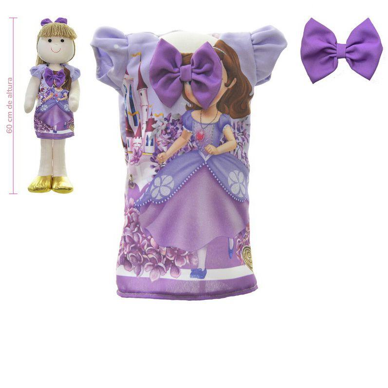 Roupa para Boneca de Pano tema princesa Sofia - Vestido