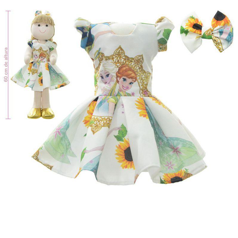 Roupa para Boneca de Pano tema rainha da neve Elsa - Frozen Fever - Vestido