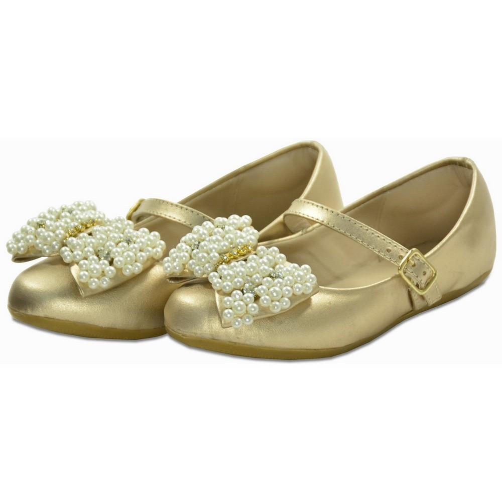 Sapatilha de Menina Couro dourada e bordado em pérolas Toke/Kimey
