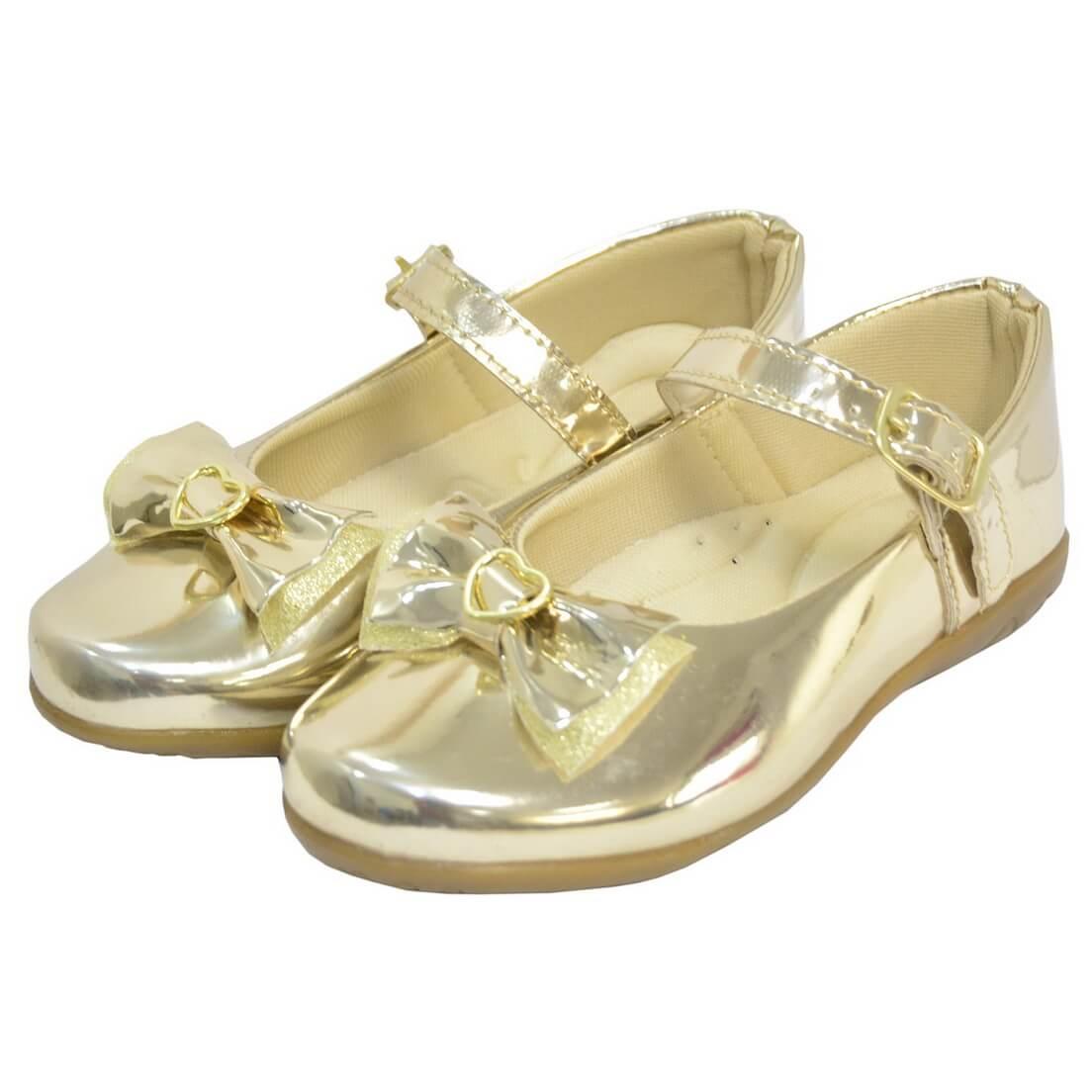 Sapatilha Infantil Dourada Laço no Bico - Sapato Menina