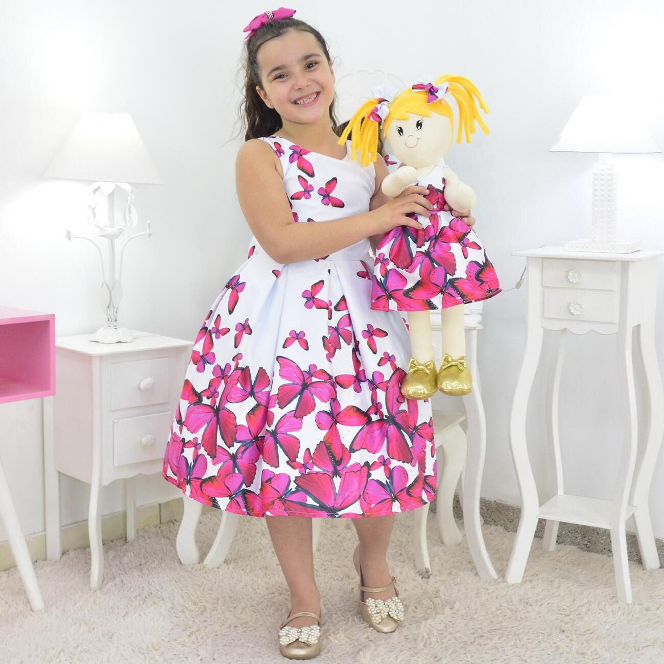 Tal Menina Tal Boneca Helo - Vestido Branco E Borboletas Rosas
