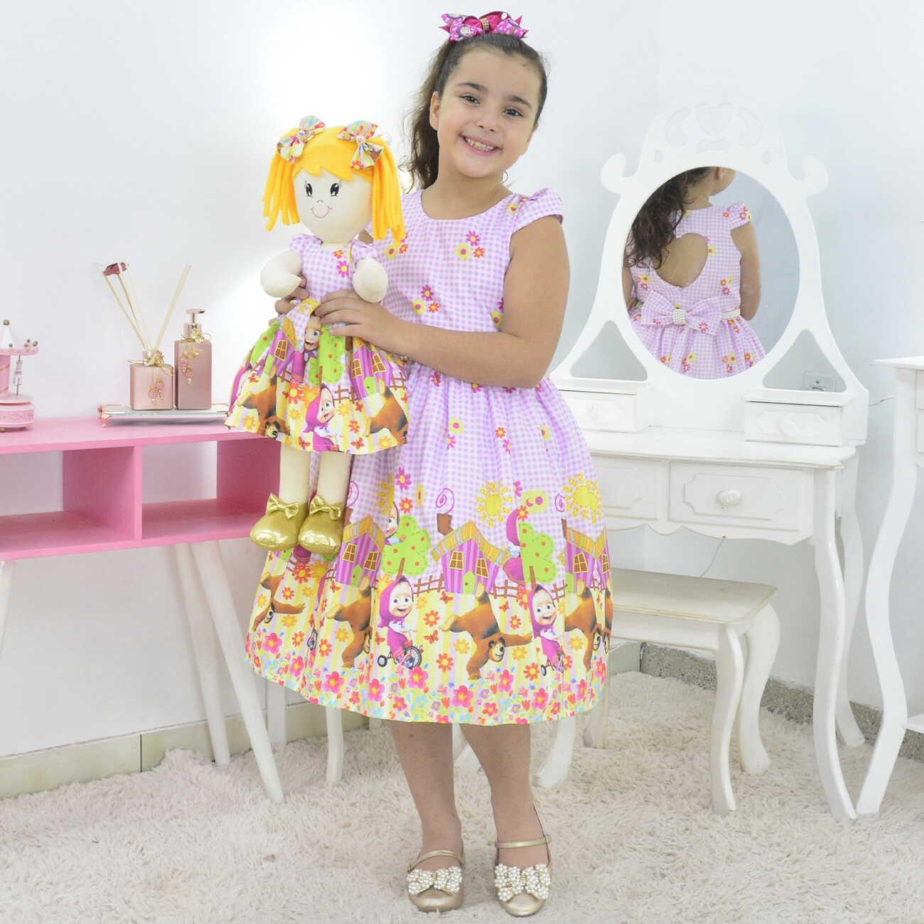 Tal Menina Tal Boneca Helo - Vestido Masha e o Urso Rosa Bebê