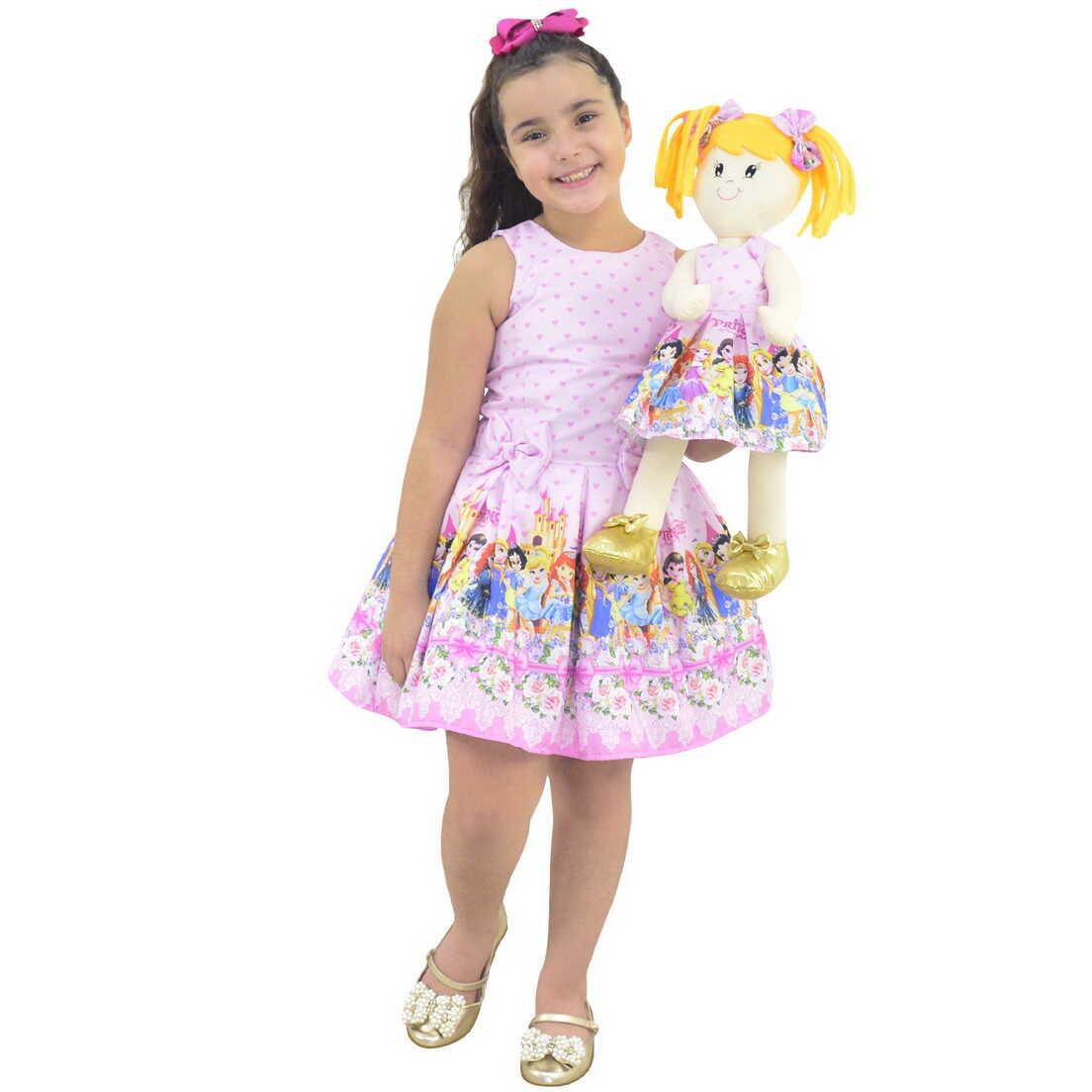 Tal Menina Tal Boneca Helo - Vestido Princesas Disney Cute