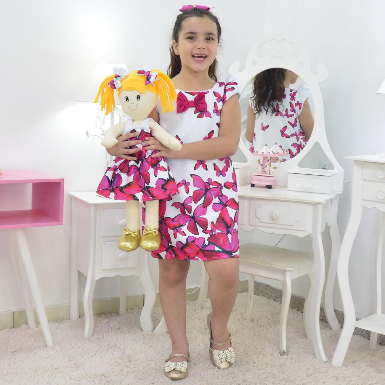Tal Menina Tal Boneca Helo - Vestido Trapézio Com Borboletas Rosas