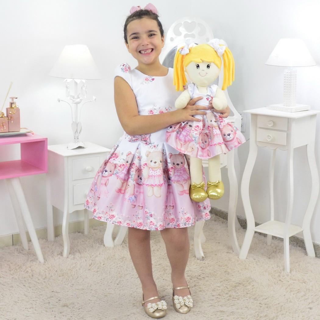 Tal Menina Tal Boneca Helo - Vestido Ursinhas Rosas