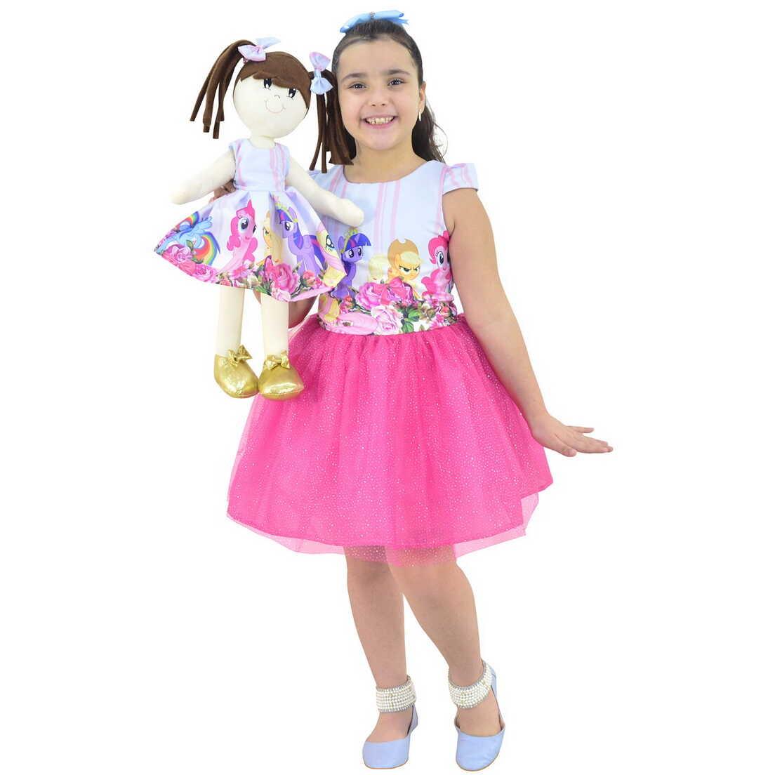 Tal Menina Tal Boneca Mar - Vestido My Little Pony Com Saia Rosa