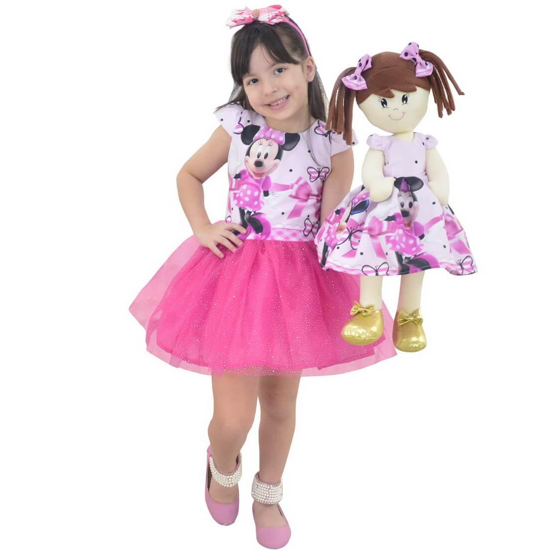 Tal Menina Tal Boneca Mari - Vestido Minnie Rosa Saia de Tutu