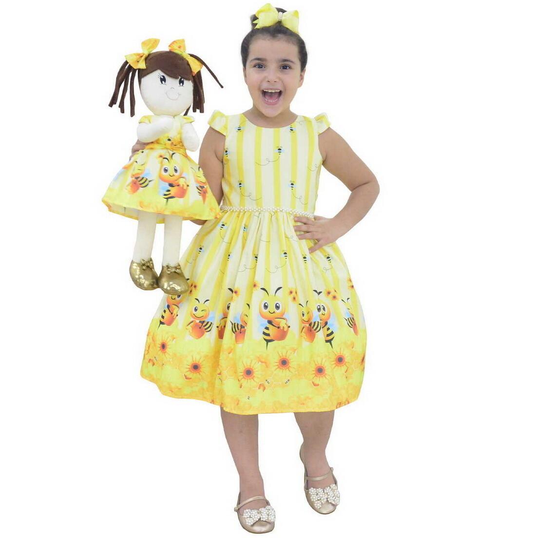 Tal Menina Tal Boneca Mari - Vestido Abelhinha Bebê Festa
