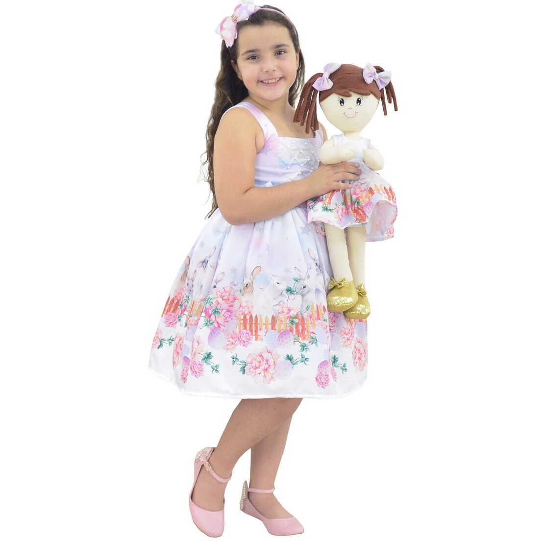 Tal Menina Tal Boneca Mari - Vestido de Pascoa com Coelhos