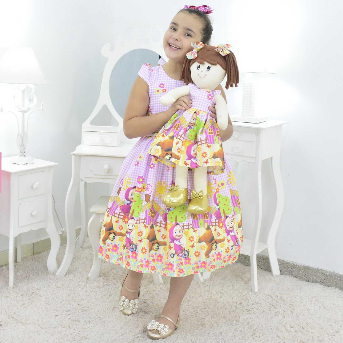 Tal Menina Tal Boneca Mari - Vestido Masha e o Urso Rosa Bebê