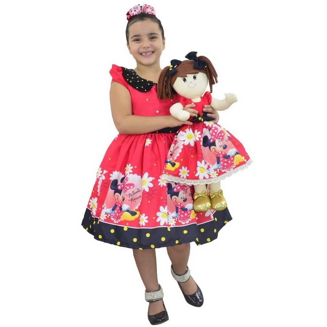 Tal Menina Tal Boneca Mari - Vestido Minnie Vermelha Luxuoso