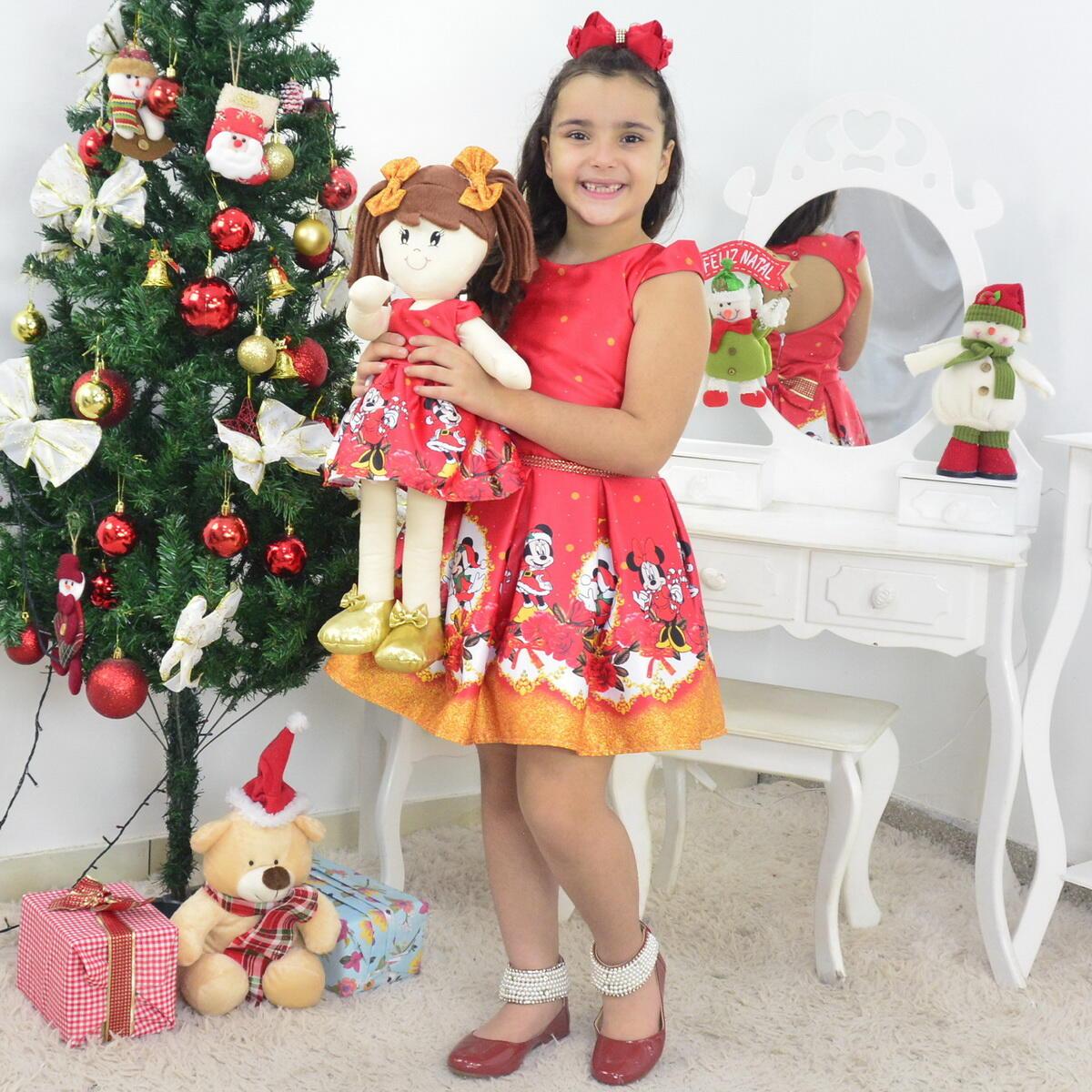 Tal Menina Tal Boneca Mari - Vestido Natal do Mickey e Minnie