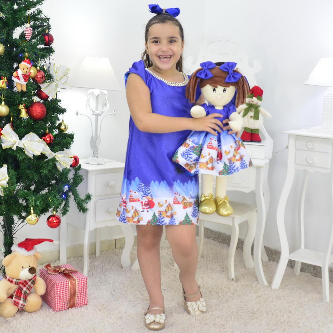 Tal Menina Tal Boneca Mari - Vestido Noite de Natal Trapézio