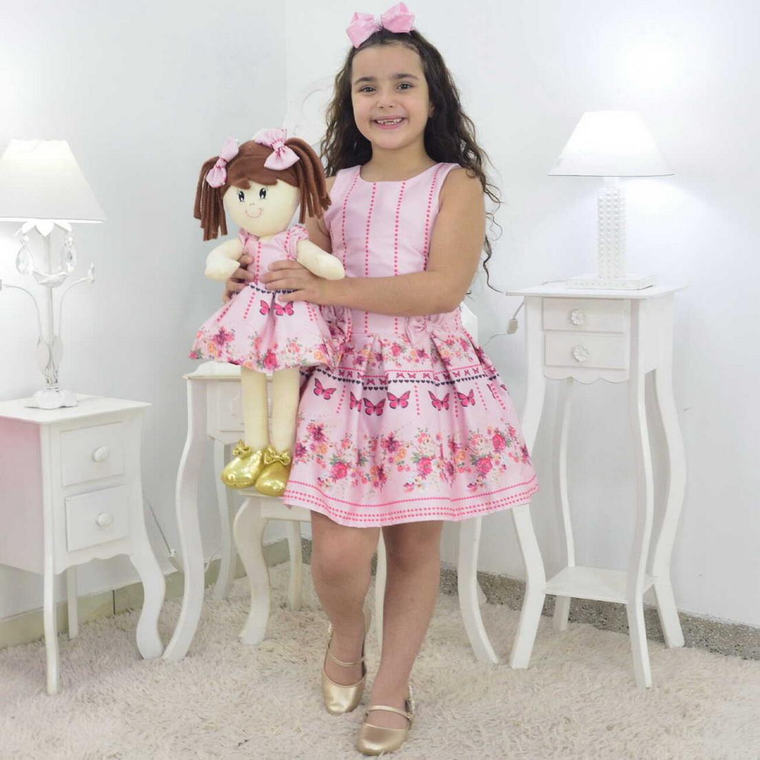 Tal Menina Tal Boneca Mari - Vestido Rosa Bebê Com Borboletas