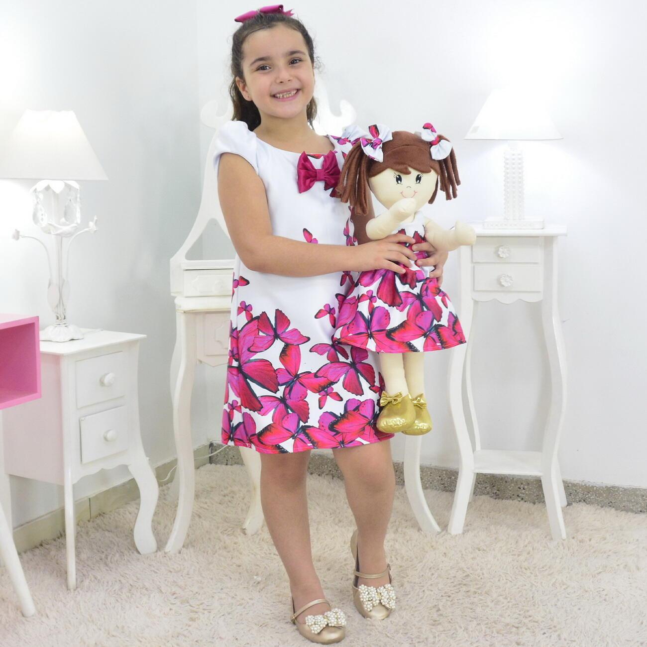 Tal Menina Tal Boneca Mari - Vestido Trapézio Com Borboletas Rosas