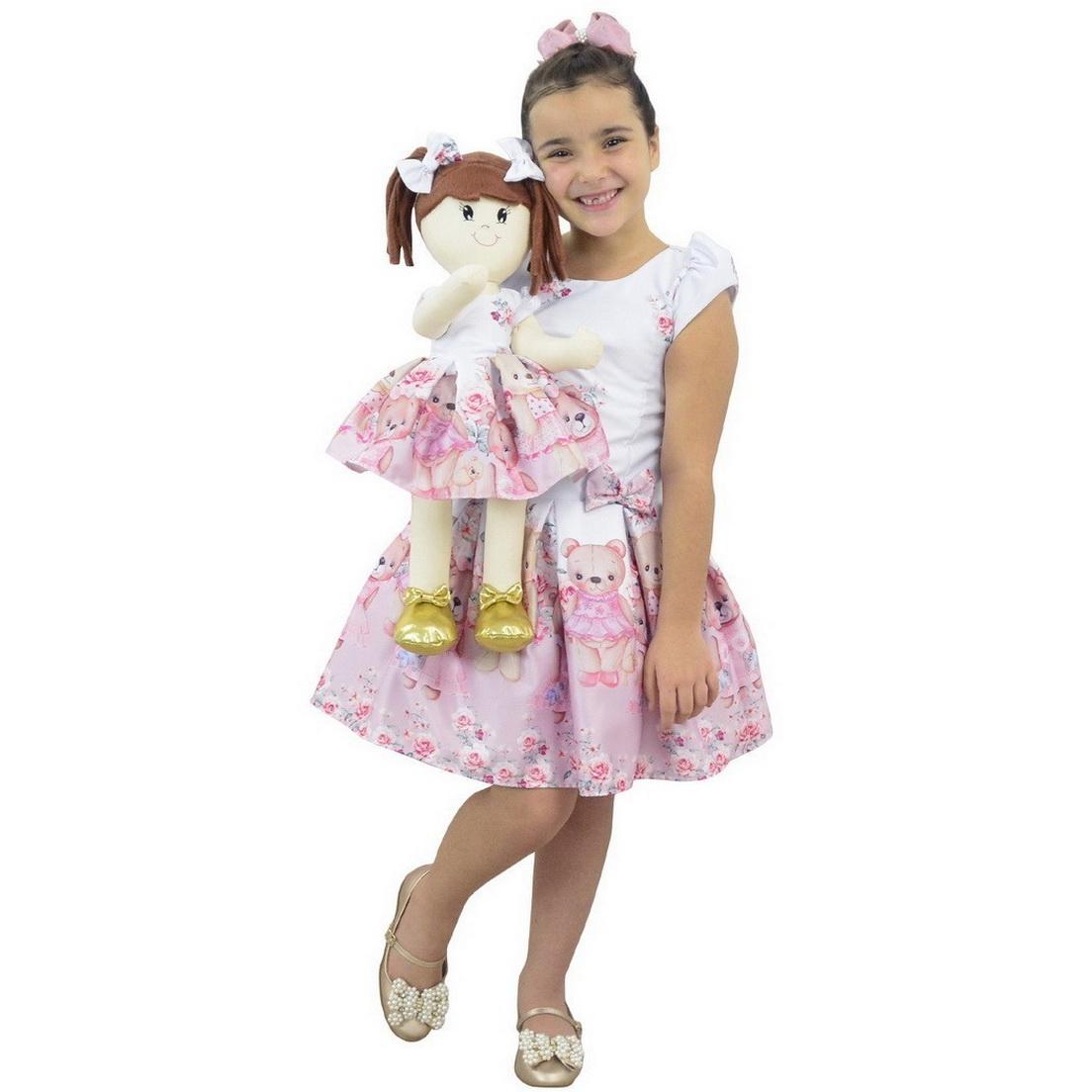 Tal Menina Tal Boneca Mari - Vestido Ursinhas Rosas