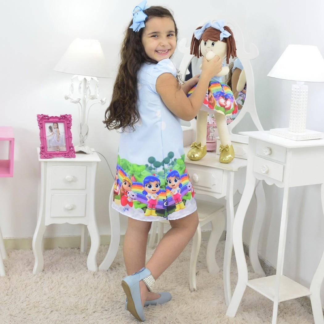 Tal Menina Tal Boneca Mari - Vestido Vera Reino Arco-Íris Trapézio