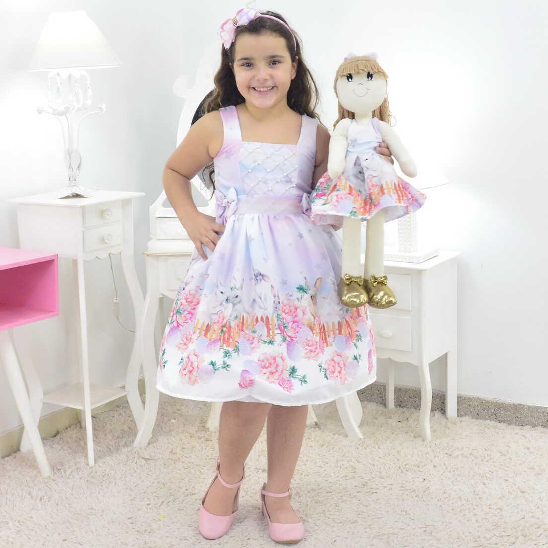 Tal Menina Tal Boneca Pri - Vestido de Pascoa com Coelhos