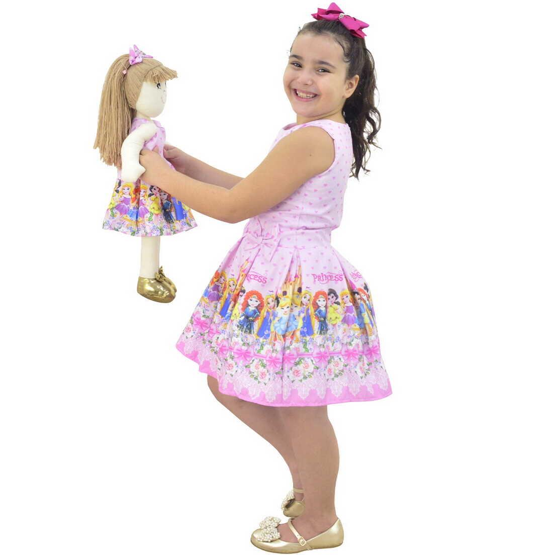 Tal Menina Tal Boneca Pri - Vestido Princesas Disney Cute