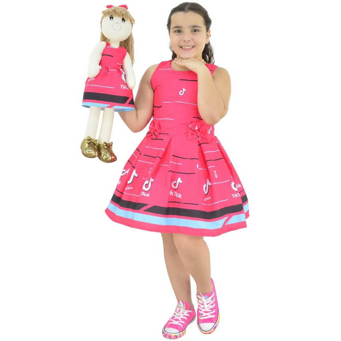 Tal Menina Tal Boneca Pri - Vestido Rosa TikTok (Tik Tok)