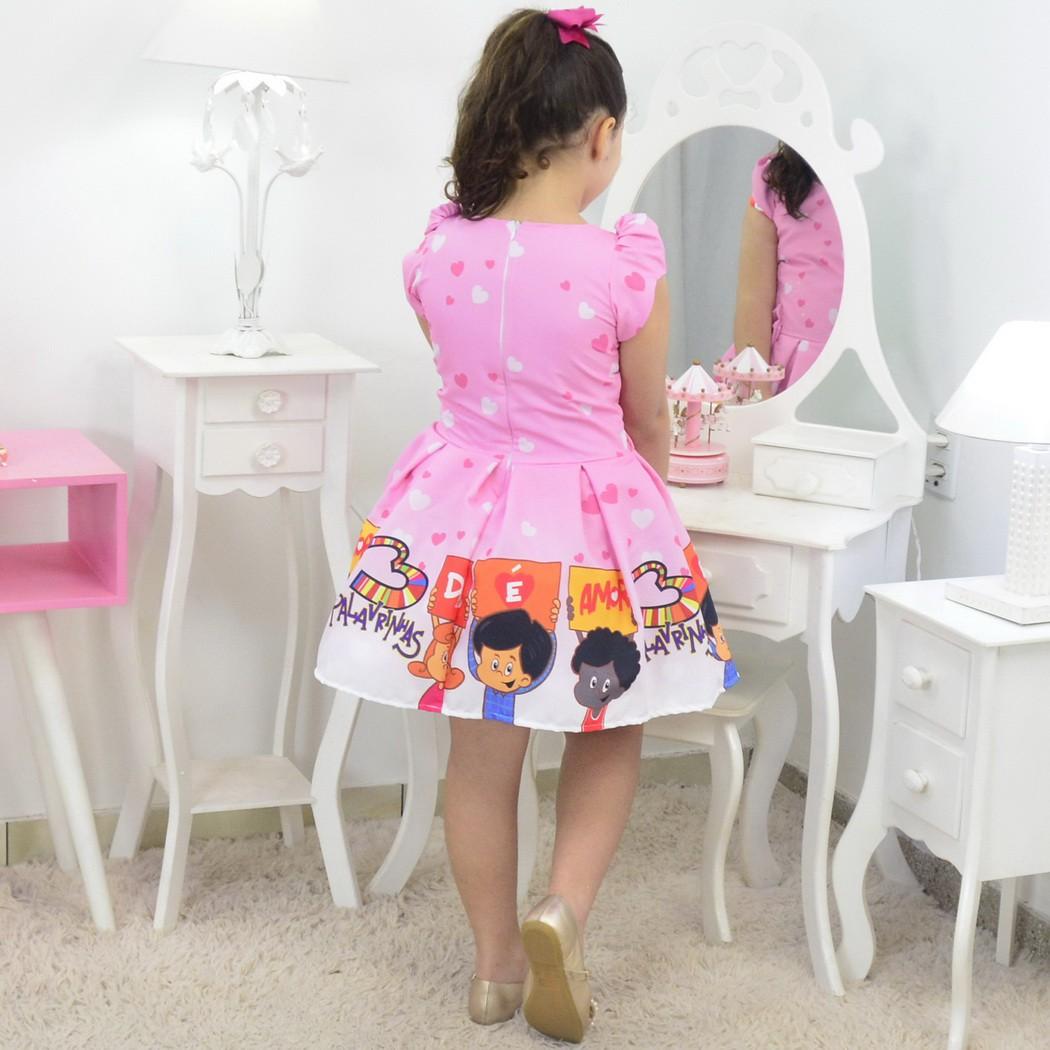 Tal Menina Tal Boneca - Vestido 3 Palavrinhas Rosa