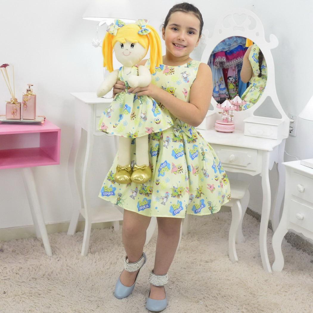 Tal Menina Tal Boneca - Vestido Bob Esponja e Boneca de Pano