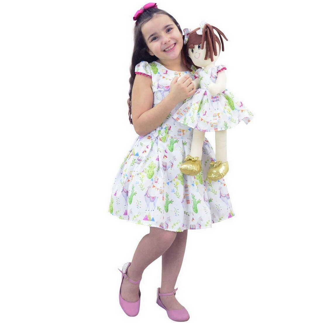 Tal Menina Tal Boneca - Vestido Com Lhamas e Boneca de Pano