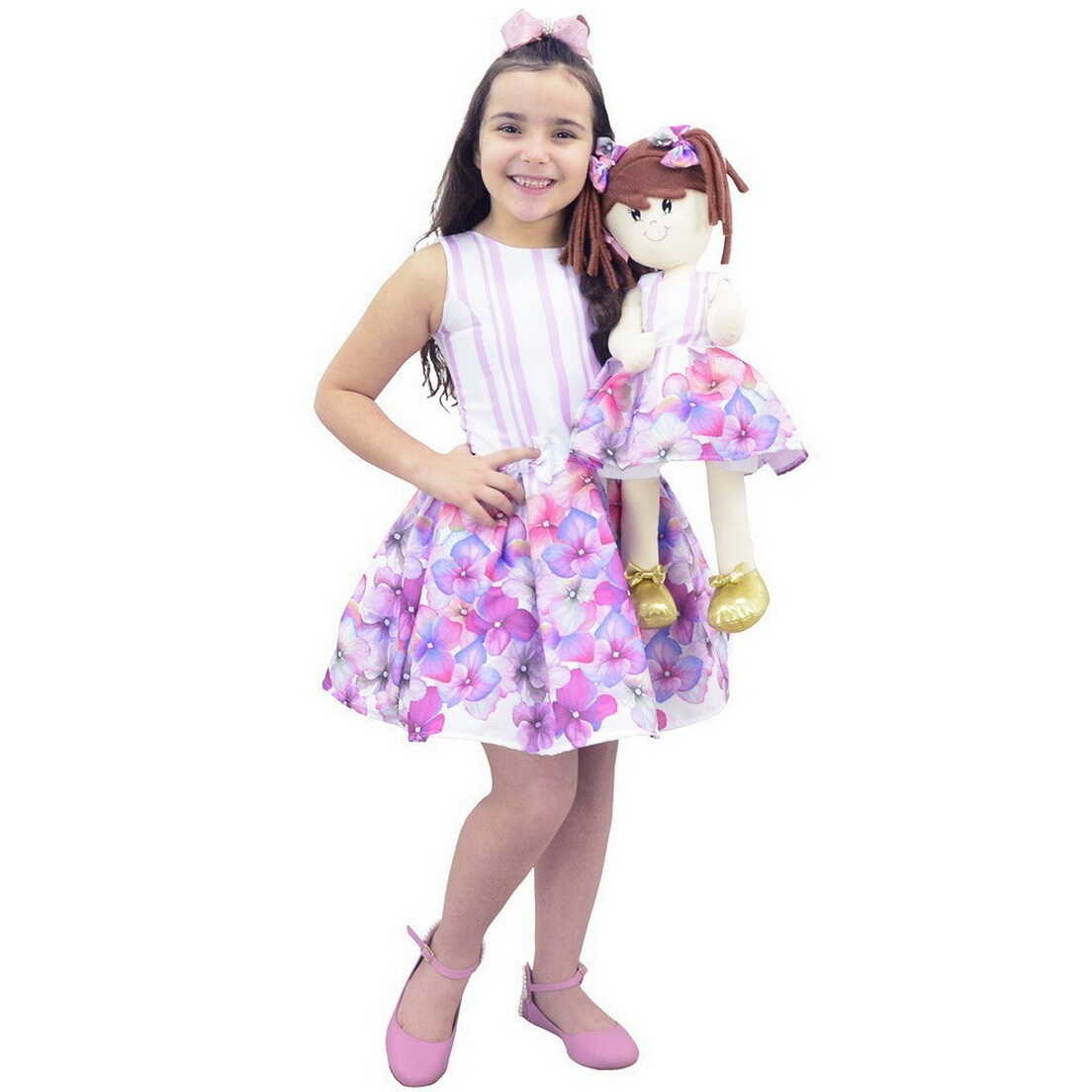 Tal Menina Tal Boneca - Vestido Floral Lilás e Boneca de Pano