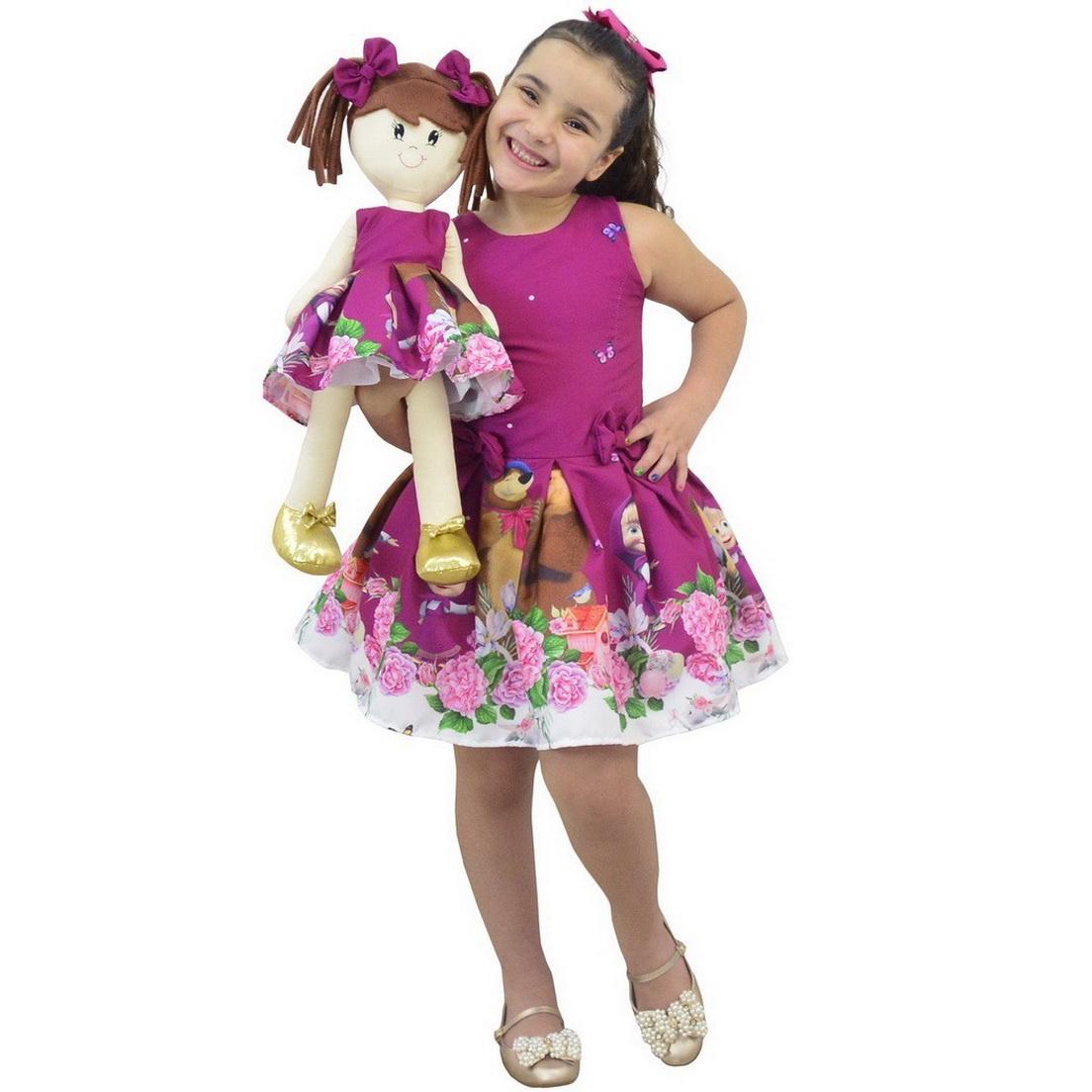 Tal Menina Tal Boneca - Vestido Masha e o Urso na Cor Roxa