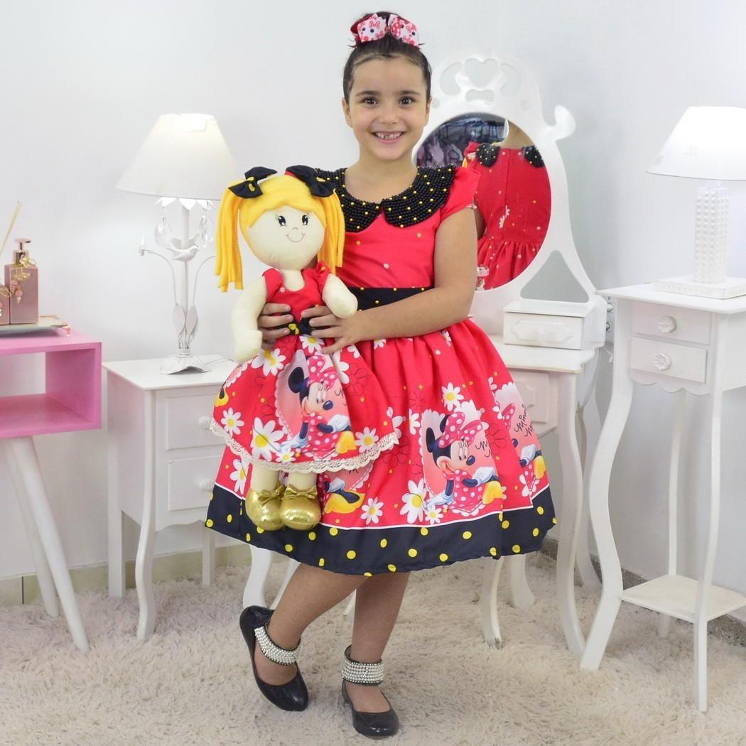 Tal Menina Tal Boneca - Vestido Minnie Vermelha Luxuoso