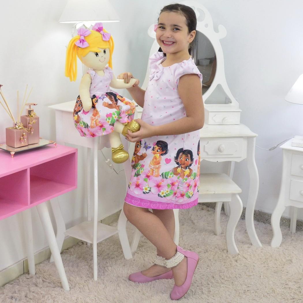 Tal Menina Tal Boneca Helo - Vestido Moana Bebê Trapézio