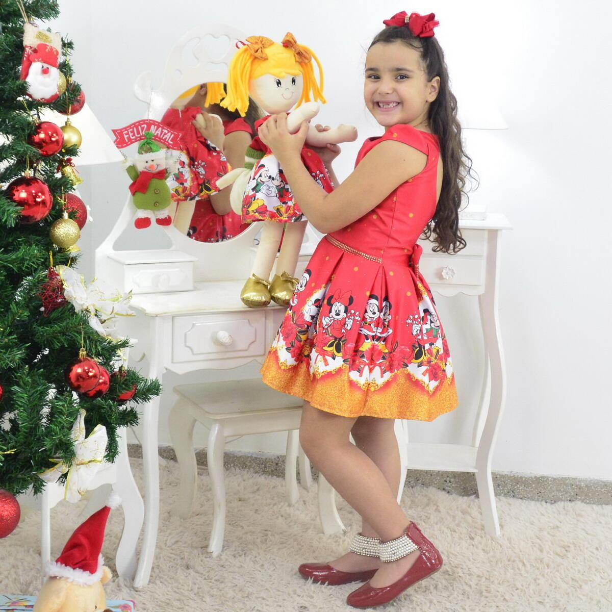 Tal Menina Tal Boneca Helo - Vestido Natal do Mickey e Minnie