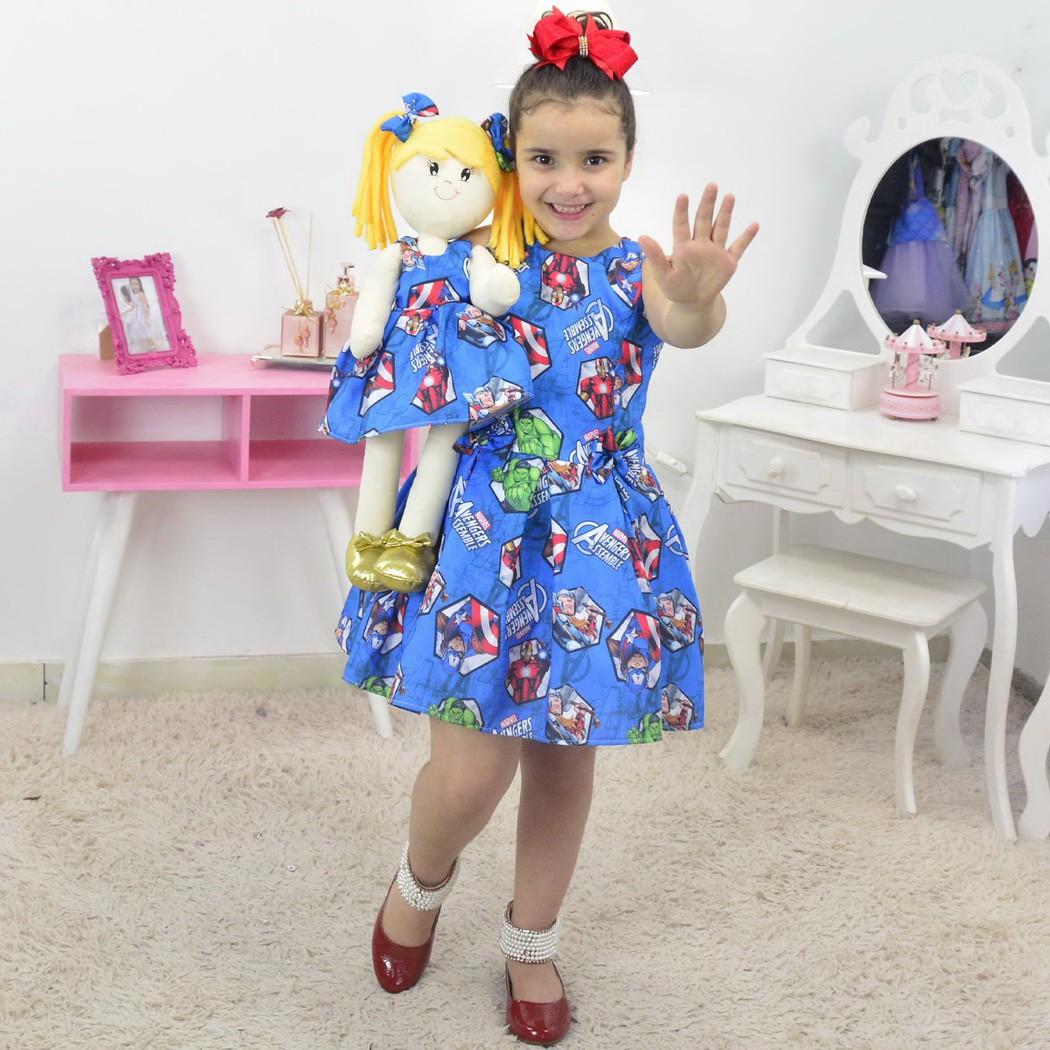 Tal Menina Tal Boneca - Vestido Os Vingadores da Marvel