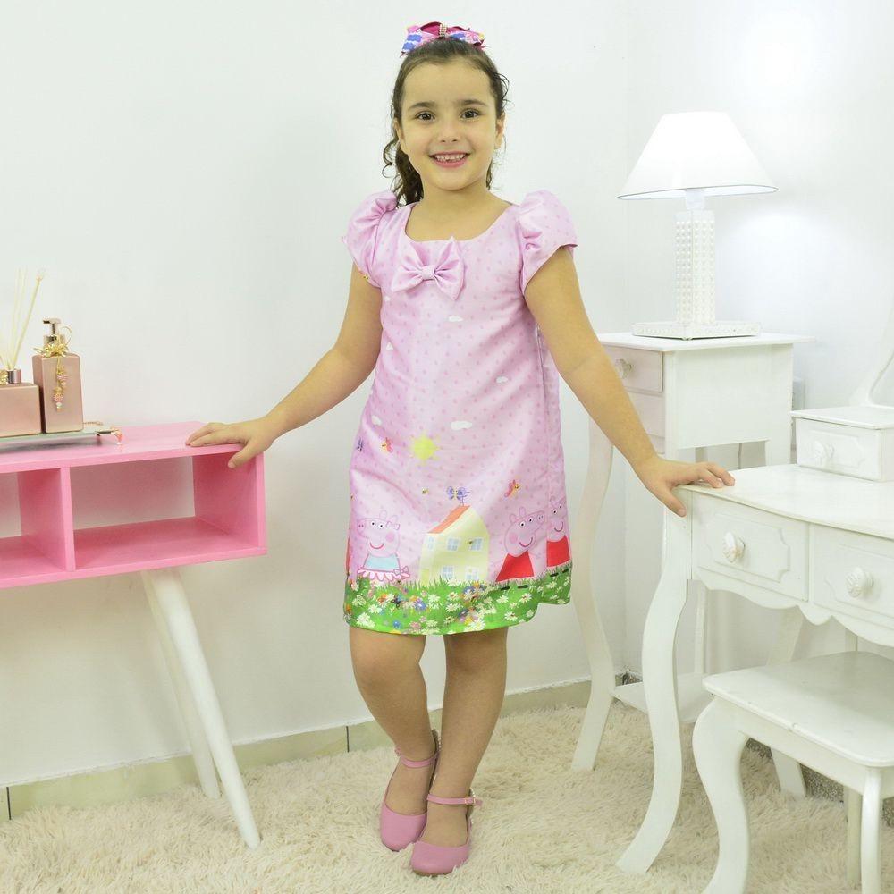 Tal Menina Tal Boneca - Vestido Peppa Pig Rosa e Boneca de Pano