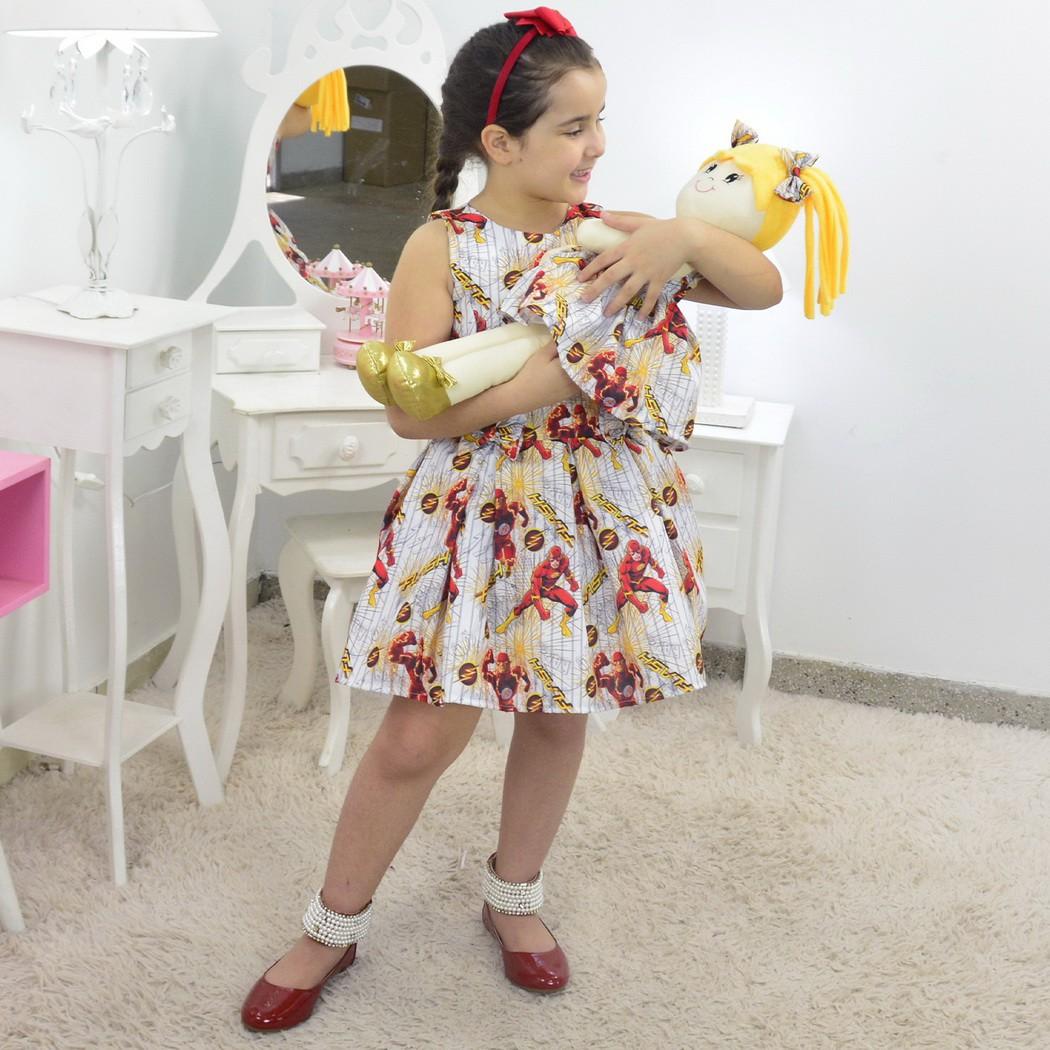 Tal Menina Tal Boneca - Vestido The Flash e Boneca de Pano