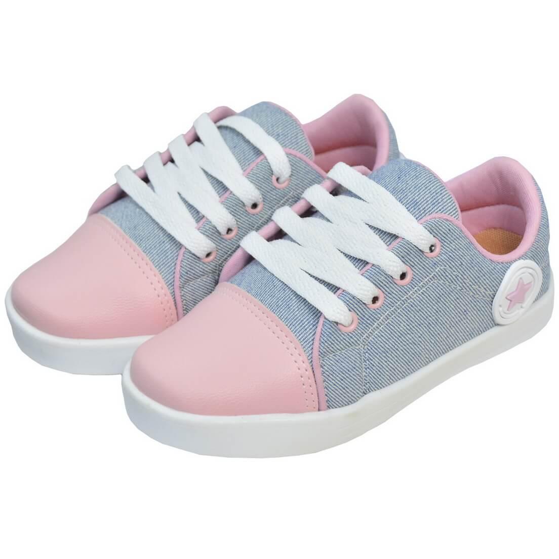 Tênis Jeans Casual Infantil Bico Rosa