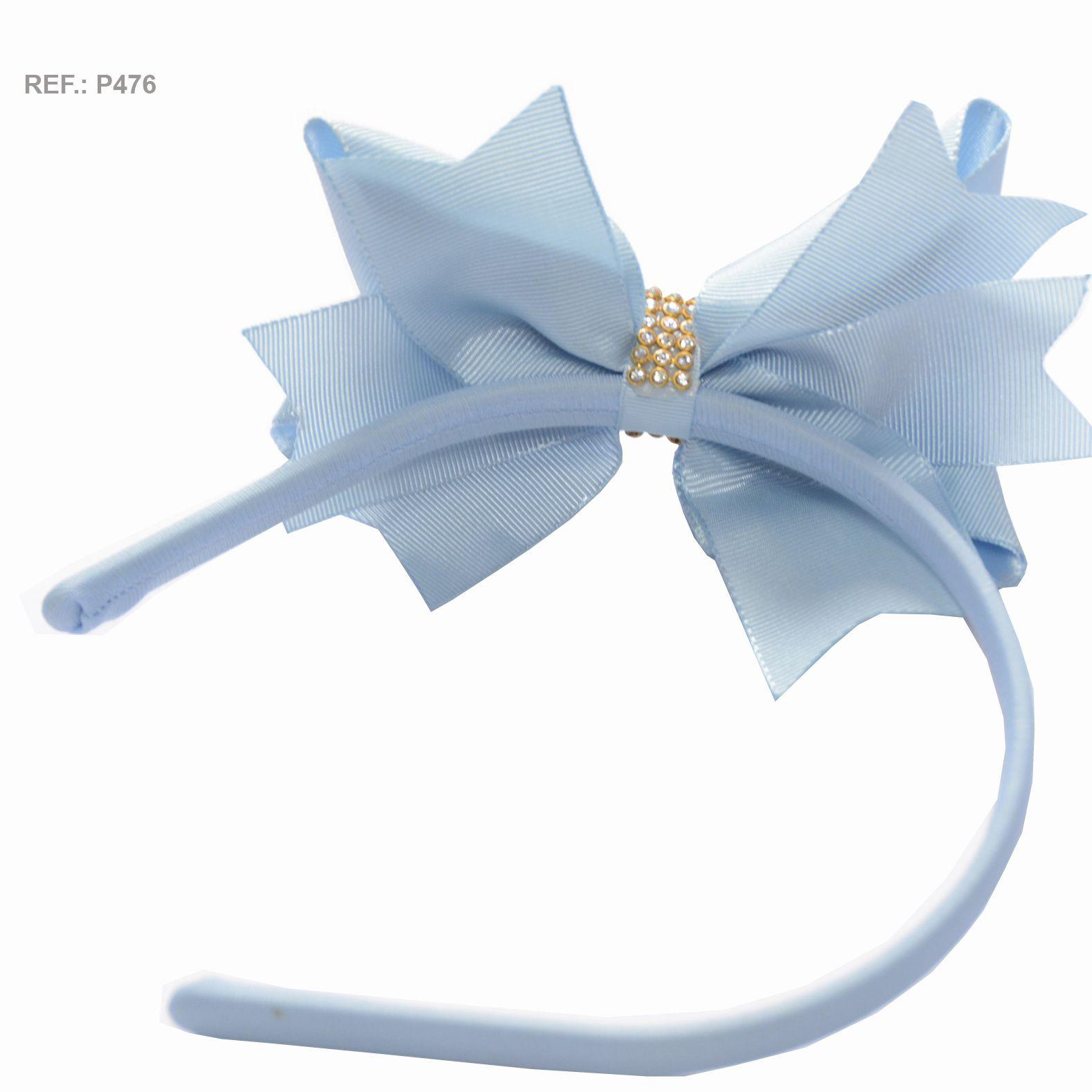 Tiara com laço liso azul bebê