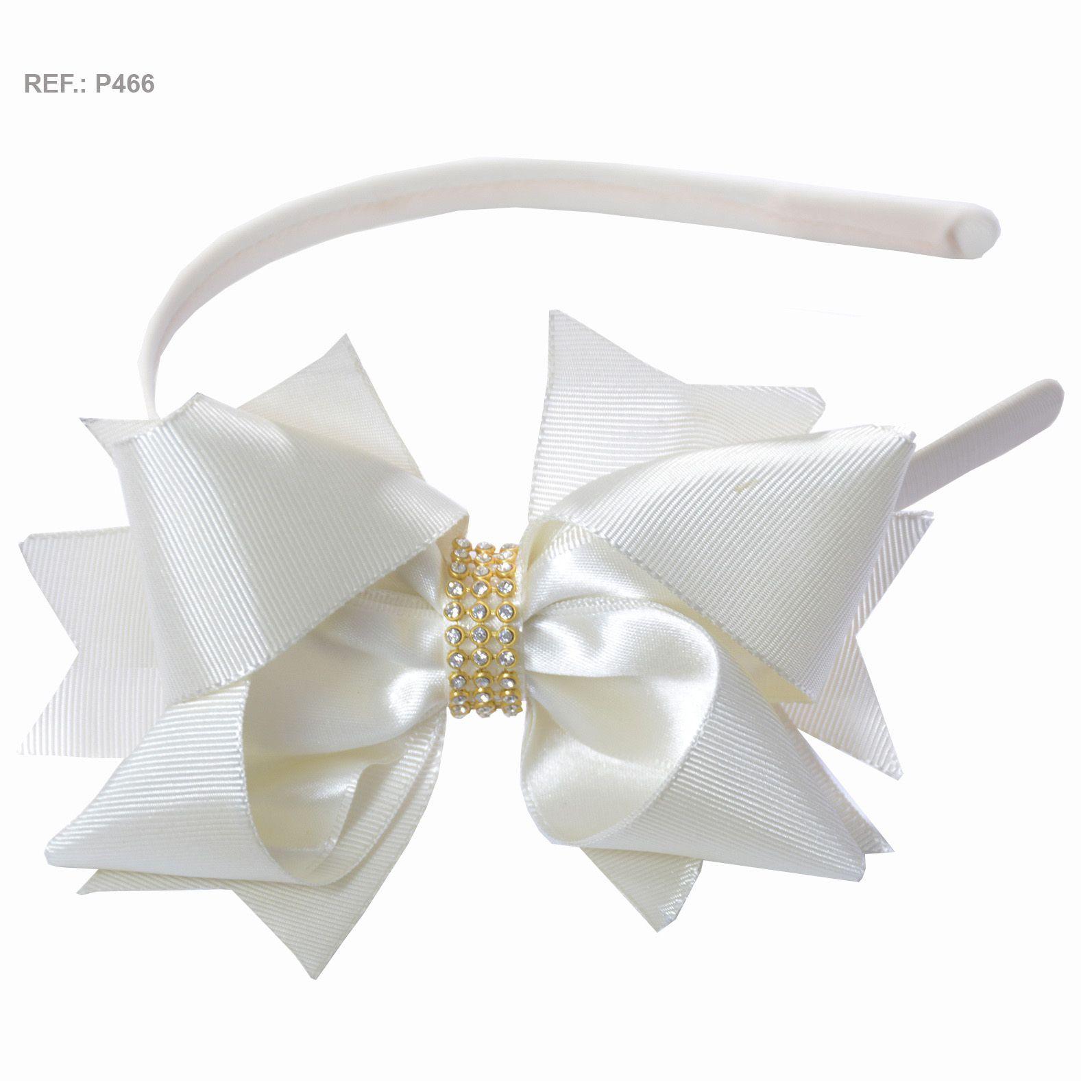 Tiara com laço liso branco navajo