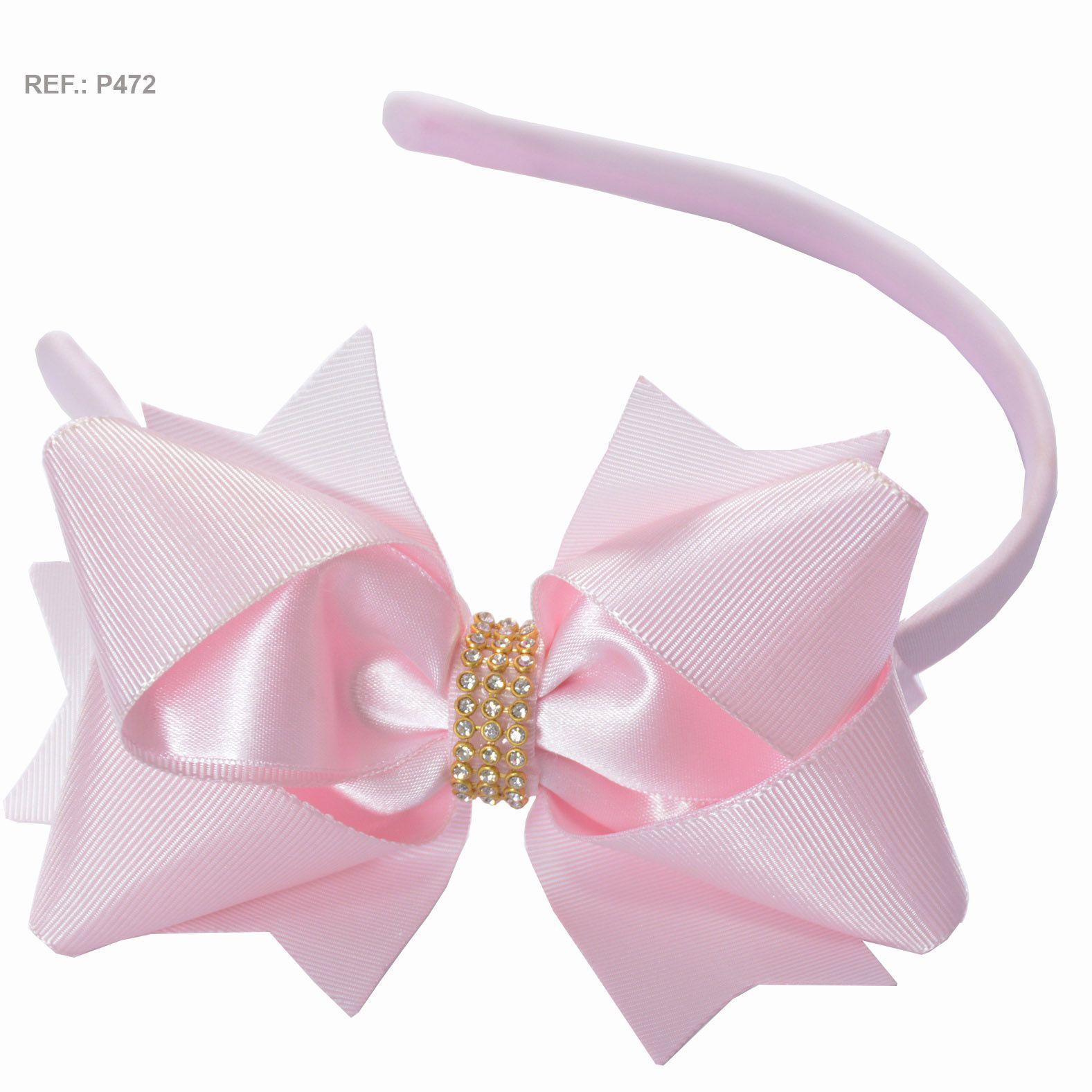 Tiara com laço liso rosa bebê