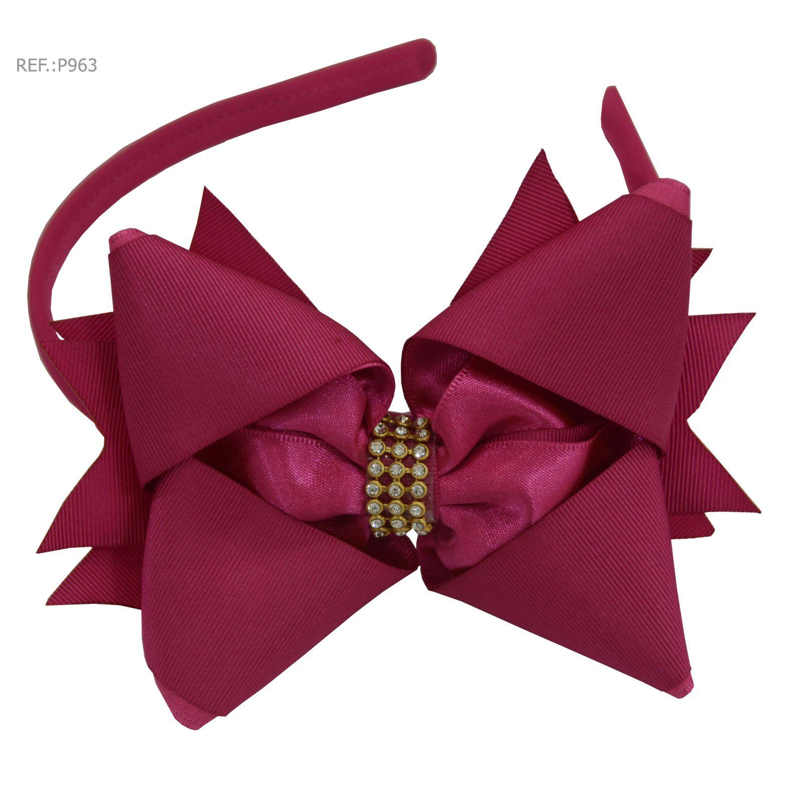 Tiara com laço liso Rosa Pink