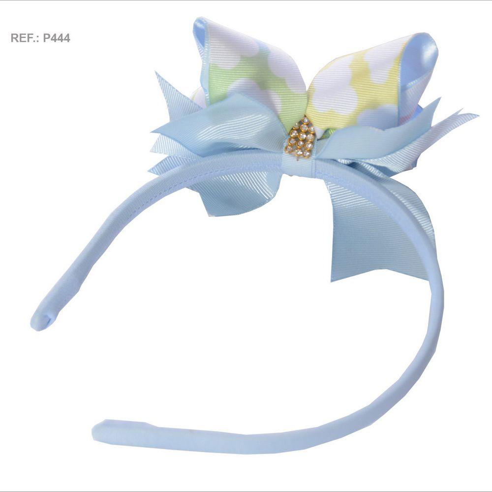 Tiara com laço temático Chuva de Amor azul bebê