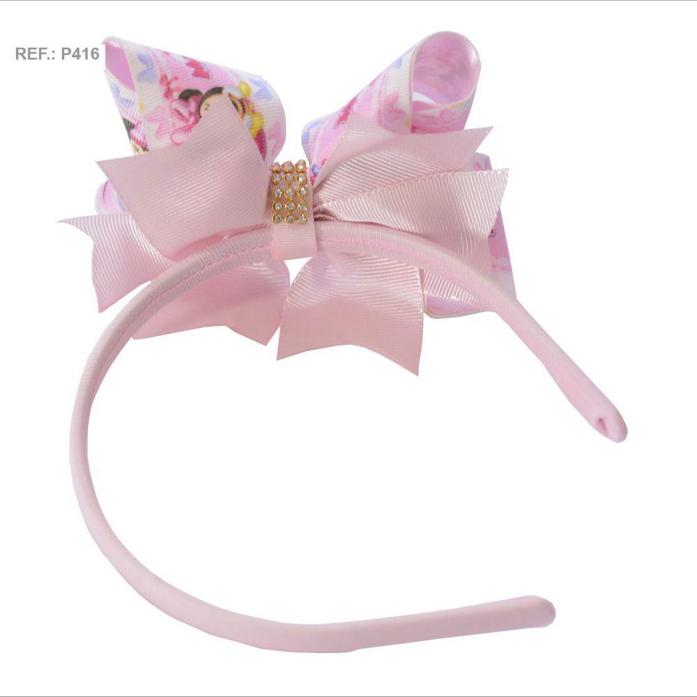 Tiara com laço temático Chuva de Amor rosa bebê